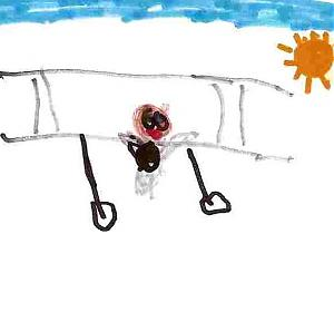 child's coloured drawing of a biplane