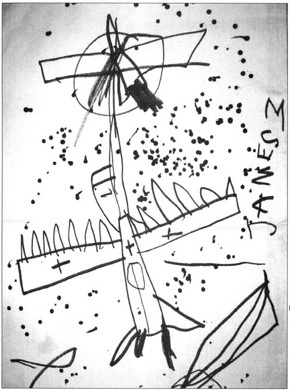 One of James's earliest drawings, done at age three.  Reproduced from Leininger & Leininger (2009)