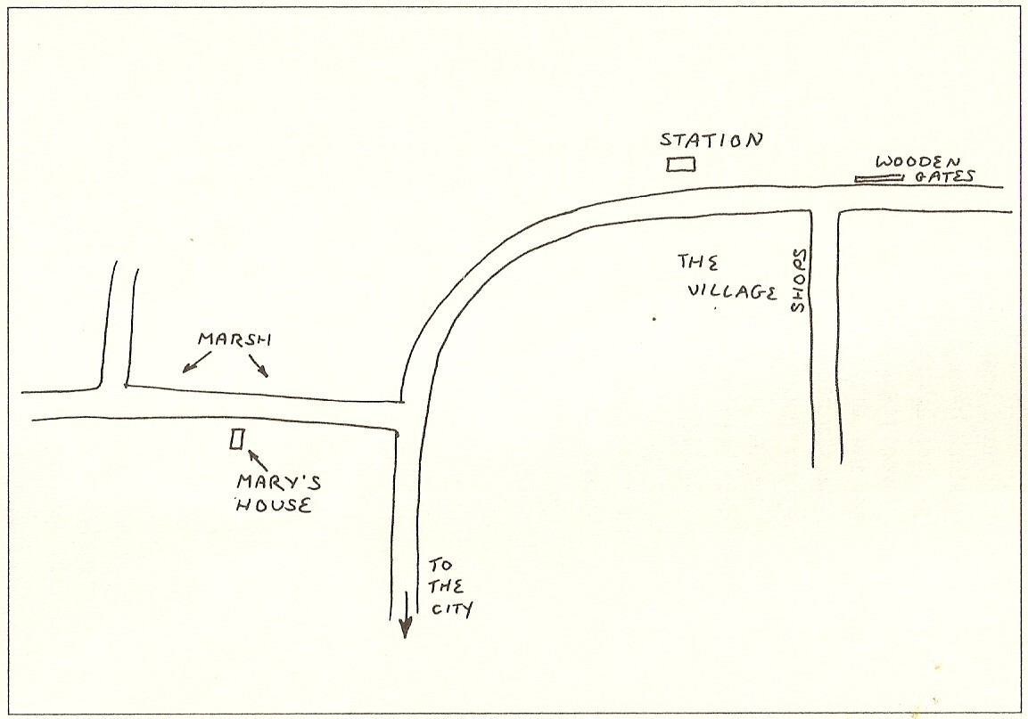 Cockell's drawn map of Malahide, the Irish village of her past life as Mary Sutton