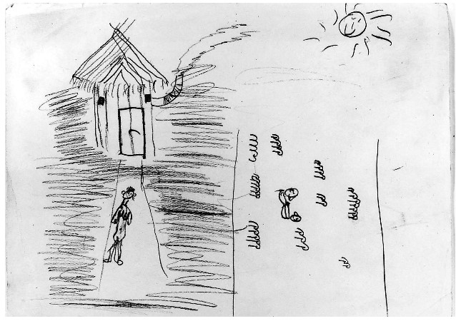 child's drawing of figure standing in front of a house