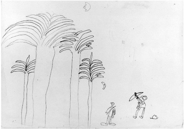 child's drawing of hunting with bow and boomerang