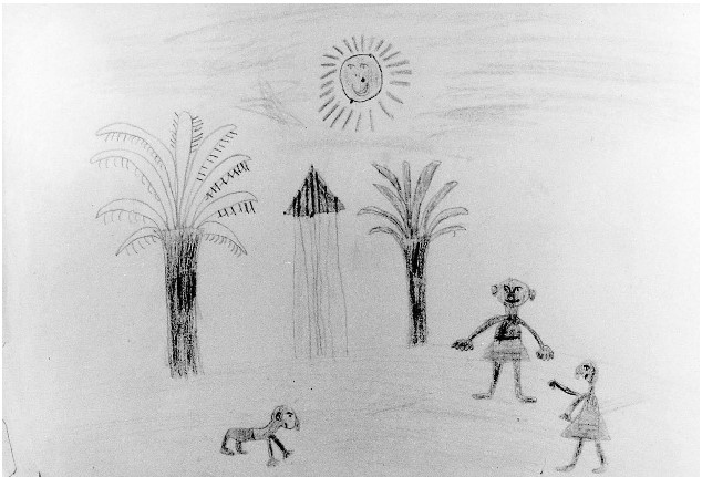 child's drawing of african hut, villagers and bright sun