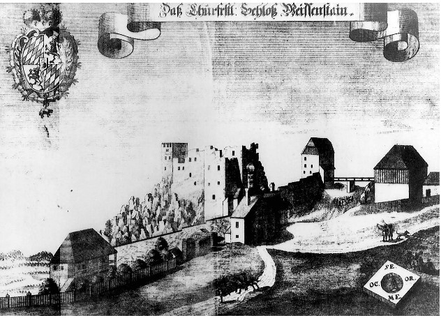1726 engraving of the castle at Regen in Bavaria