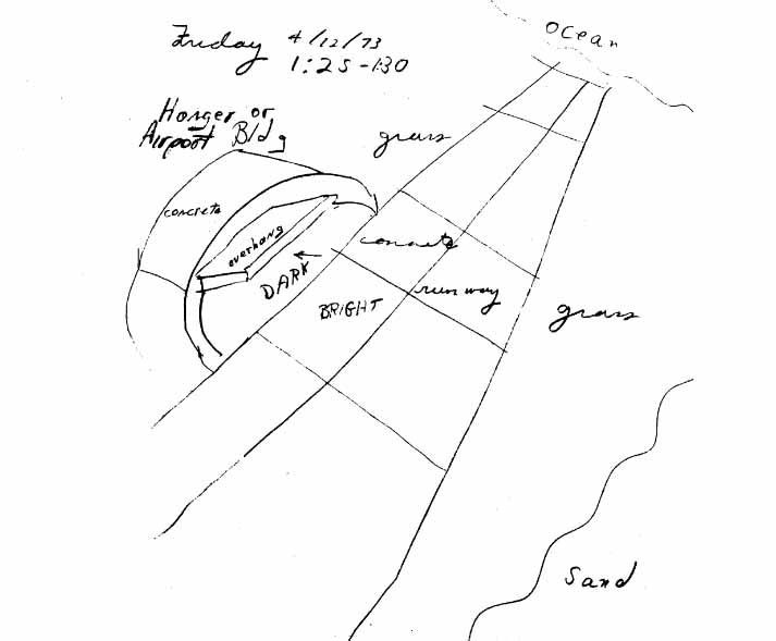Russell Targ's drawing of an airport visited by Harold Puthoff while vacationing