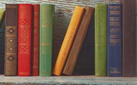 photograph of books on a shelf