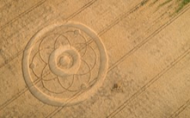 photo of crop circle in a wheat field