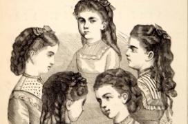 Teenage girls in Victorian fashion engraving