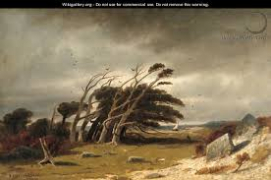 landscape painting by Robert Swain Gifford of trees blown by the wind, named Monterey