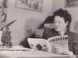 Eileen Garrett reading the first issue of Tomorrow magazine