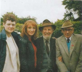 Cockell and Sonny pictured with actors Jane Seymour and Hume Cronin on the set of Yesterday's Children