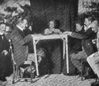 photo of seance attended by Morselli (left)