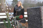photo of mourner in cemetery