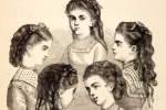 Teenage girls in Victorian fashion engraving