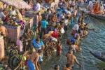 pilgrims bathing in the Ganges in Varanasi (Benares)