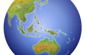 globe view of asia and australia
