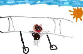 child's drawing of a World War 1 biplane