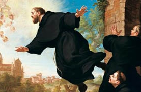 St. Joseph of Cupertino is lifted in flight at the sight of the Basilica of Loreto, by Ludovico Mazzanti  (detail)